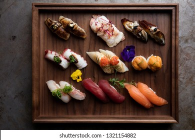 Exclusive gourmet sushi with gold and caviar