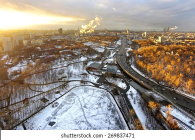 Exclusive look! From the height of birds flight in the sky over winter Moscow.