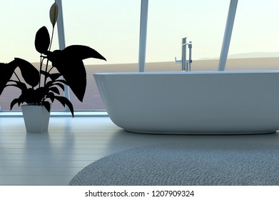Exclusive Luxury Bathroom Interior with aerial view