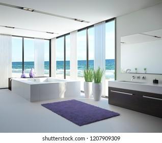 Exclusive Luxury Bathroom Interior by the sea   ocean
