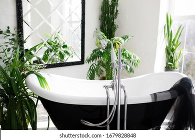 Exclusive modern black and white bathroom interior in luxury mansion with big window