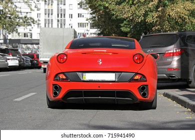 Exclusive private supercar in the center of the city. Ferrari California on the streets of the capital of Ukraine. Back view. Autumn. Kiev - Ukraine, September, 2017.  Editorial photo