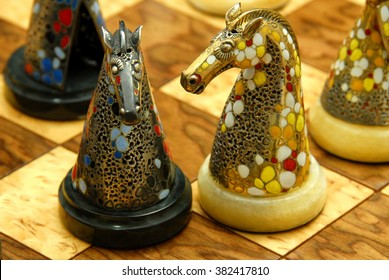Exclusive Spanish chess made of silver, gold and precious stones.