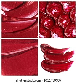 Exclusive textures and smears of creamy red lipstic on white background