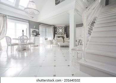 Exclusive White Living Room With Marble Floor