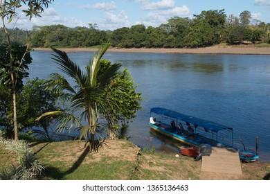 Excursion boat on Rio San Carlos near Boca Tapada in Costa Rica