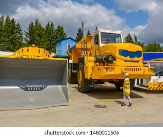 """Excursion to the factory for the production of multi-ton mining trucks """"BelAZ"""". Exhibition area on the territory of the plant.  Republic of Belarus. The City Of Zhodino. 03.08.2019."""