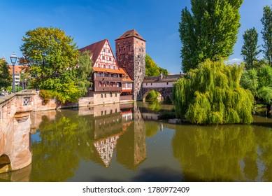 Executioner's bridge in Nuremberg, Germany on the Pegnitz River.
