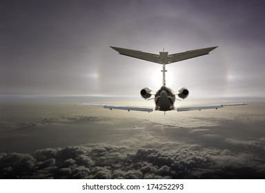 An executive aircraft flying int the optical effect