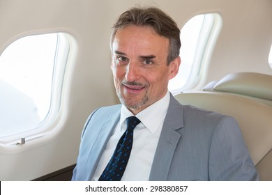 executive business manager in an airplane portrait