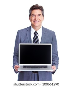 Executive businessman with laptop computer.  Isolated on white background.