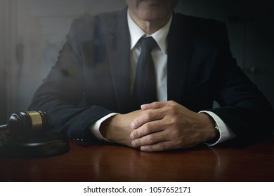 executive businessman or lawyer standing in the office background,justice and law concept,