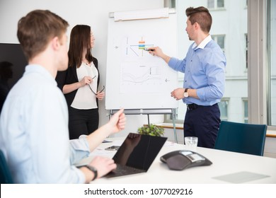 Executive Explaining Presentation To Colleagues In Office