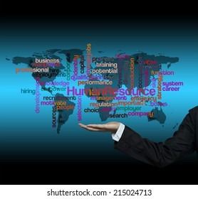 """Executive hand hold """"Human Resources word cloud arrangement"""""""