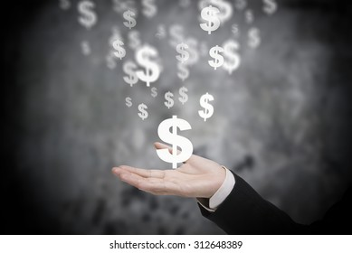 Executive hand holding virtual dollar symbol