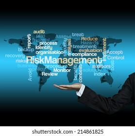 "Executive hand with risk management word cloud arrangement"""