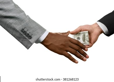 Executive handing money. International corruption. Every chain has a weakness. Corruption at its best.