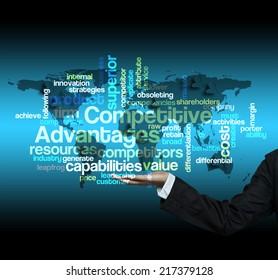 """Executive hold -""""Competitive Advantages word cloud arrangement"""""""