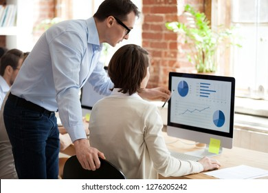 Executive manager mentor helping employee intern preparing online statistical report in office, ceo teaching training explaining worker computer data graphs charts stats analysis pointing on monitor