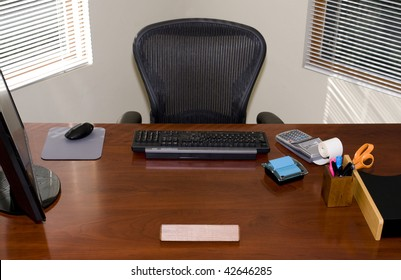 Executive Office Desk and chair with Blank Nameplate for Your Text!