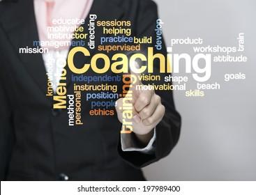 "Executive press virtual Screen-""Coaching word cloud arrangement"""