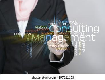 "Executive press virtual Screen-""Consulting Management word cloud arrangement"""