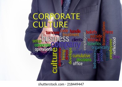 """Executive pushing on touch screen interface with """"CORPORATE CULTURE"""" word cloud arrangement"""