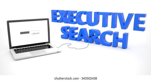 Executive Search - laptop notebook computer connected to a word on white background. 3d render illustration.