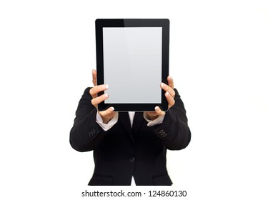 Executive showing a digital tablet with blank screen isolated on white background