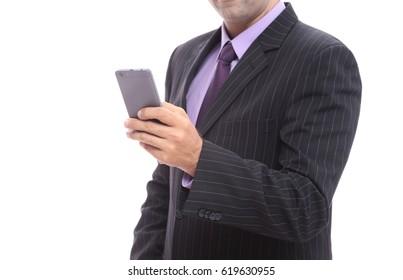 Executive uses a mobile phone