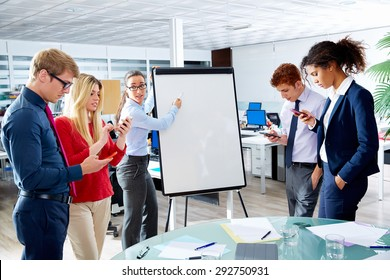 Executive woman presentation with distracted people playing with smartphones