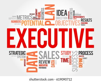 Executive word cloud, business concept background