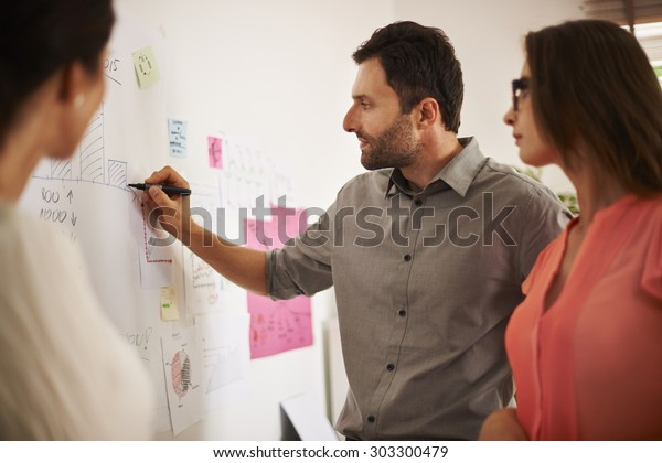 Executive writing down some data on the board