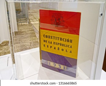 Exemplary of the Constitution of the Spanish Republic of 1931 in an exhibition at the Cidade da Cultura. Santiago de Compostela Santiago de Compostela, Galicia, Spain 01/25/2019