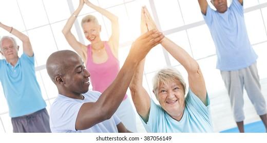 Exercise Balance Senior Adult Workout Activity Gym Concept