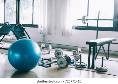 Exercise blue color ball in fitness, gym equipment and fitness balls in sports club.Sports Outdoors Exercise Balls,Massage Ball, Exercise Therapy Rubber.