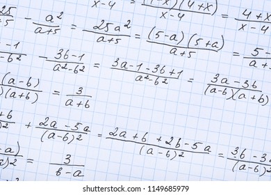 Exercise book with maths formulas