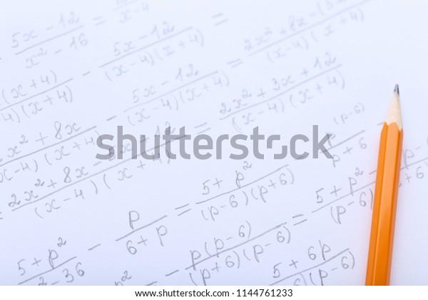 Exercise Book Maths Formulas Pencil Stock Photo (Edit Now