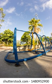 Exercise equipment photographed with fisheye lens