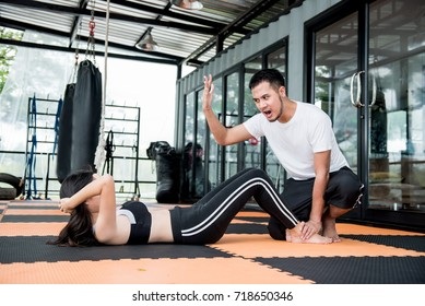 Exercise with trainer for good healthy
