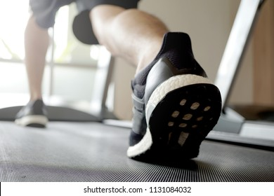 Exercise in walking or running on automatic machines.