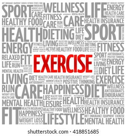 EXERCISE word cloud background, health concept