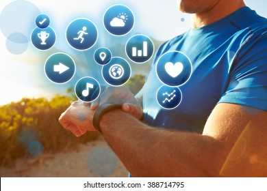 Exercising Man Checking Activity Tracker With Health Icons