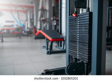 Exersice machine closeup, sport equipment in gym