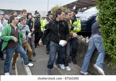 EXETER - APRIL 30:  Devon and Cornwall Police to prevent football violence between Exeter City FC and Plymouth Argyle FC at Exeter's St James Park Football ground on April 30, 2011 in Exeter