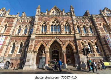 Exeter, Devon, England, 23 October 2016:  The building of the Royal Albert memorial museum and the people at the entrance