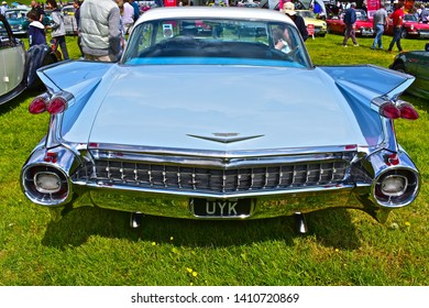 Exeter, Devon / England - 5/10/2019: Classic car show. Cadillac Eldorado American hardtop ports saloon with the definitive sharkfin tail fins to the rear.
