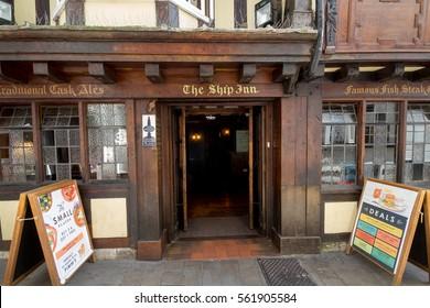EXETER, DEVON, UK, 22 July, 2016: Entrance to the old pub Ship Inn
