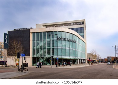 EXETER, DEVON, UK - 31MAR19: The John Lewis store is one of the iconic buildings in the centre of Exeter. The department store Bobby and Co operated from this site until the 1970s.