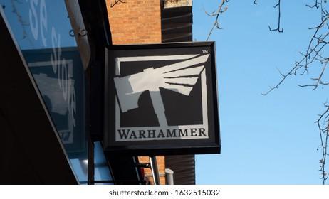 EXETER, DEVON, UK - February 01 2020: Warhammer shop signage on South Street
